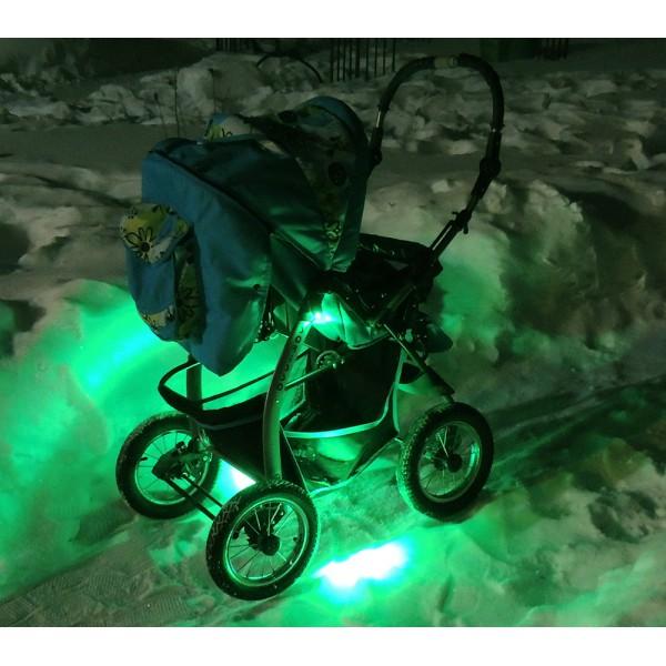 подсветка коляски зеленая