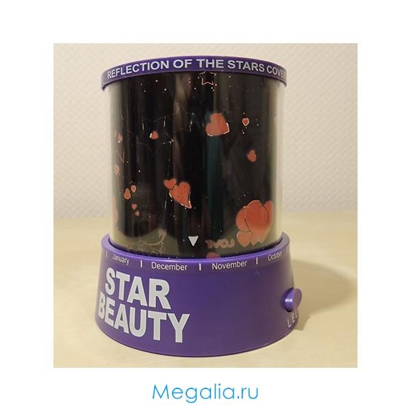 """Светильник """"Romantic Master, Star Beauty"""" Фиолетовый корпус, рисунок влюбленные"""