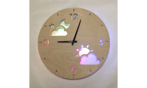 Детские часы ночник «Луна и солнце №843»