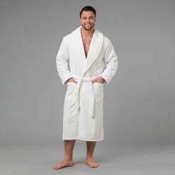 """Мужской халат с вышивкой """"Именной"""" (белый)"""