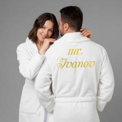 """Комплект халатов с вышивкой """"Мистер и миссис"""" (белые)"""