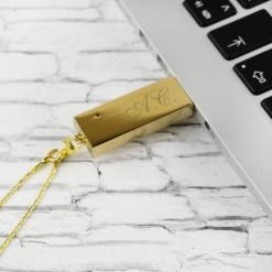 Флеш-накопитель «Золотой» с гравировкой
