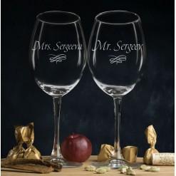 """Комплект именных бокалов для вина """"Мистер и Миссис"""""""