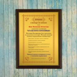 Подарочный диплом (плакетка) *Приказ о выходе на пенсию*