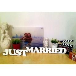 """Декоративные слова """"Just Married"""" из дерева"""