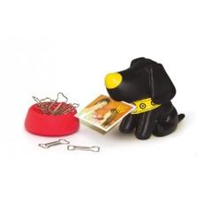 Подставка для скрепок и визиток Собачка (черная)