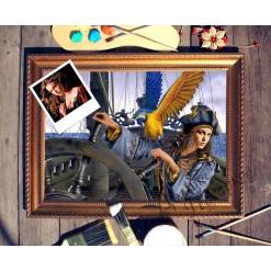 Портрет по фото *Девушка за штурвалом корабля*