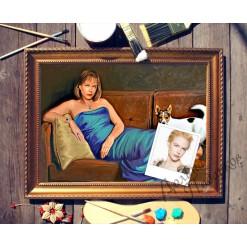 Портрет по фото *Дама с собачкой*