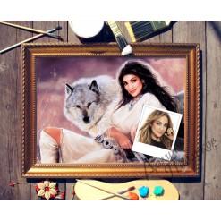 Портрет по фото *Девушка с волком*