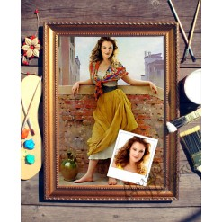 Портрет по фото *Девушка на мосту*