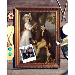 Парный портрет по фото *Пара с собакой*