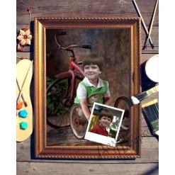 Портрет по фото *Мальчик с велосипедом*