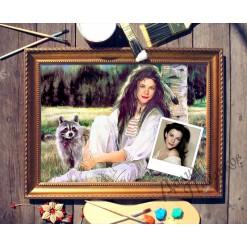Портрет по фото *Девушка с енотом*