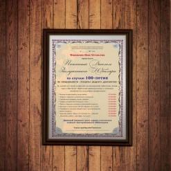 Почетный диплом заслуженного юбиляра на 100-летие