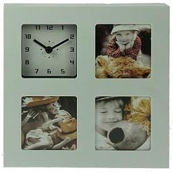 Настольные часы - фоторамка (белые)