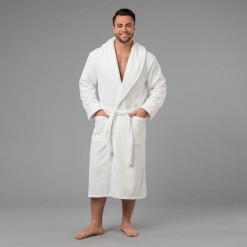 """Мужской халат с вышивкой """"Лучший муж на свете"""" (белый)"""