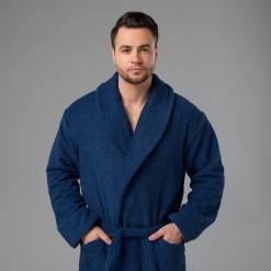 """Мужской халат с вышивкой """"Царь, просто царь"""" (темно-синий)"""