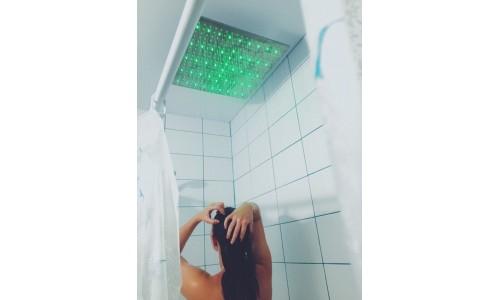 Тропический душ с подсветкой  40х40 см (латунь)