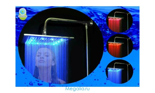 Тропический душ с подсветкой 30х30 см (латунь)