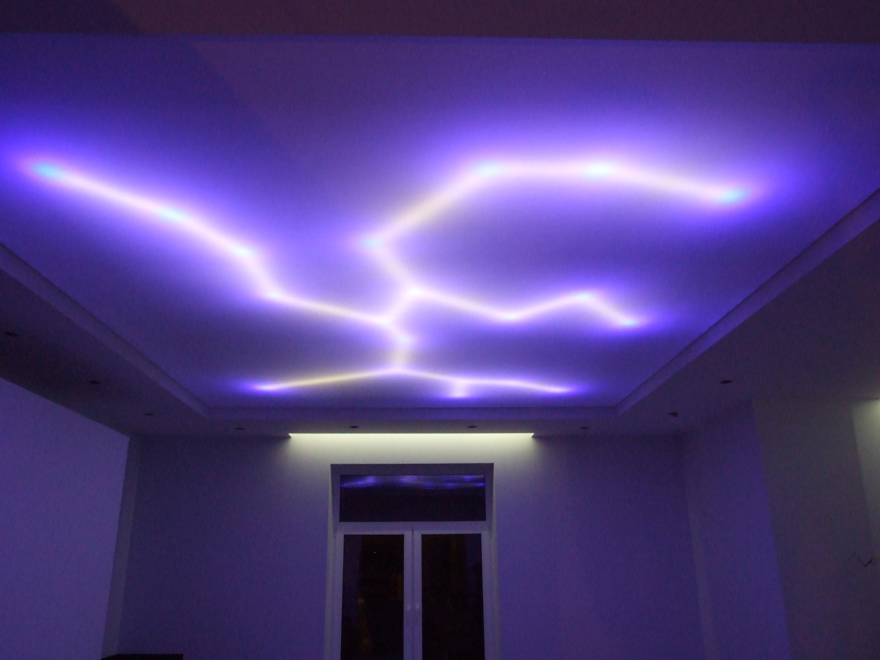 Диодная подсветка потолка фото