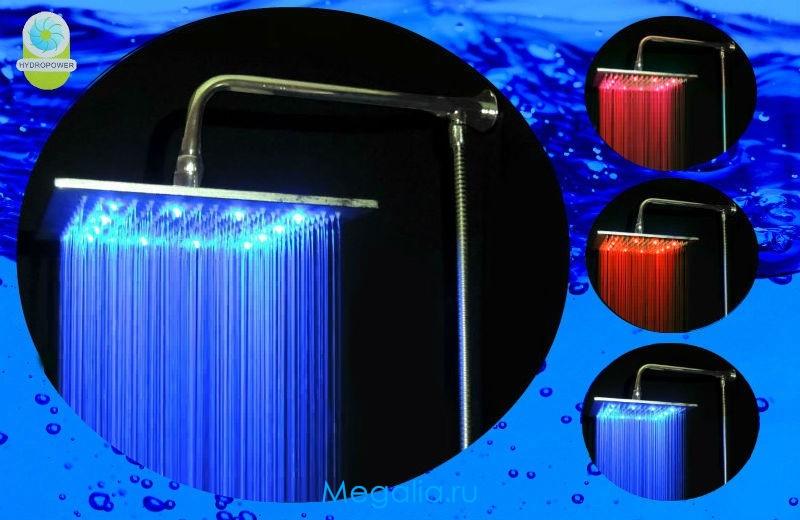 Душ с подсветкой 30х30 см (3 цвета) - медный